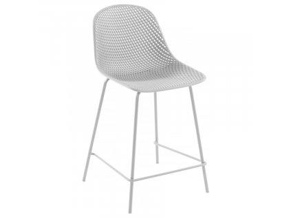 Bílá plastová barová židle LaForma Quinby 65 cm