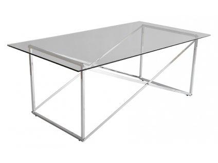 Stříbrný skleněný konferenční stolek Cross