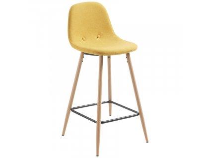 Hořčicově žlutá látková barová židle LaForma Nilson 65 cm s kovovou podnoží
