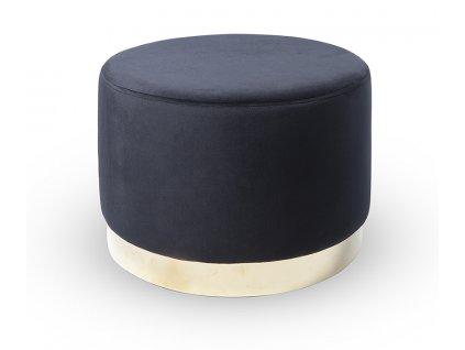 Černý sametový taburet Bling 50 cm