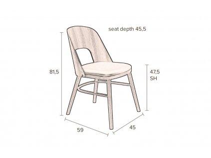 Hnědá dřevěná jídelní židle DUTCHBONE Talika