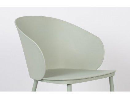 Mintově zelená plastová jídelní židle WLL Gigi