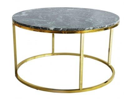 Zelený mramorový konferenční stolek RGE Accent s lesklou zlatou podnoží Ø 85 cm