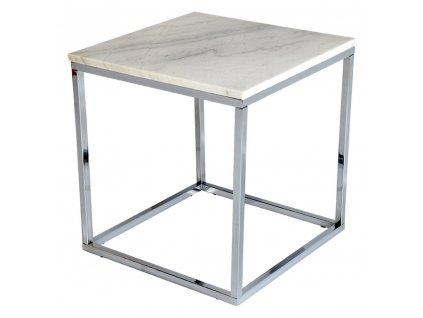 Bílý mramorový konferenční stolek RGE Accent s chromovou podnoží 53 cm