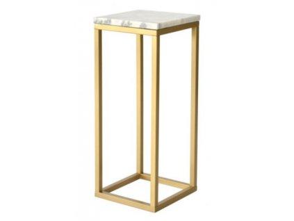 Bílý mramorový odkládací stolek RGE Accent se zlatou podnoží 80 cm