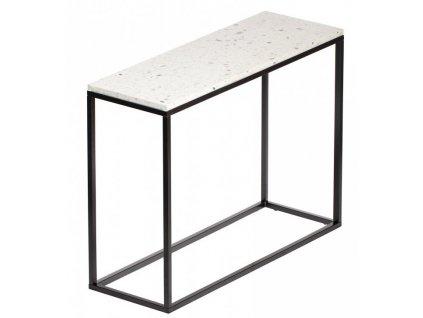 Bílý terrazzo toaletní stolek RGE Accent Bianco s černou podnoží 75 cm