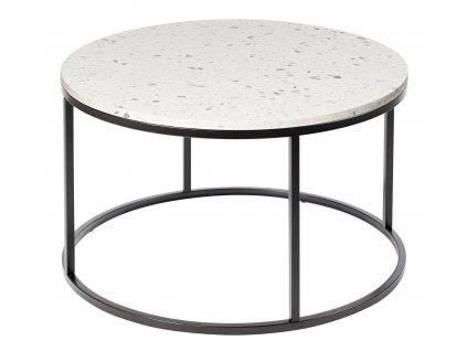 Bílý terrazzo konferenční stolek RGE Accent Bianco s černou podnoží Ø 85 cm