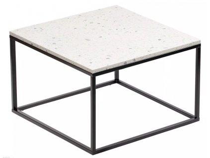 Čtvercový terrazzo konferenční stolek RGE Accent Bianco s černou podnoží 48 cm