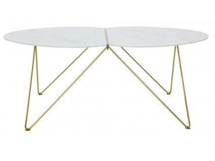 Skleněný kulatý konferenční stolek RGE Ant se zlatou podnoží