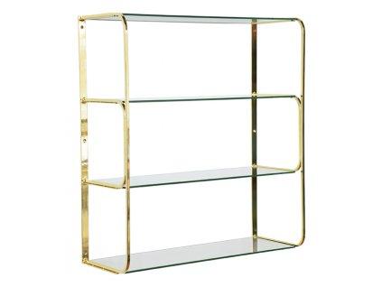 Zlatý skleněný nástěnný regál RGE Ellen