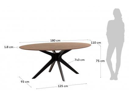 Dřevěný oválný jídelní stůl LaForma Naanim 180x110 cm s dřevěnou křížovou podnoží