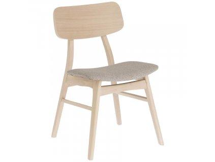 Béžová dřevěná jídelní židle LaForma Selia s látkovým sedákem