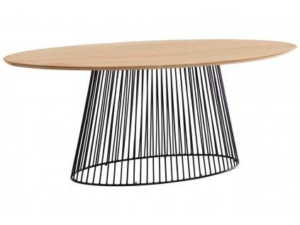 Dubový oválný jídelní stůl LaForma Leska 180x110 cm s kovovou podnoží