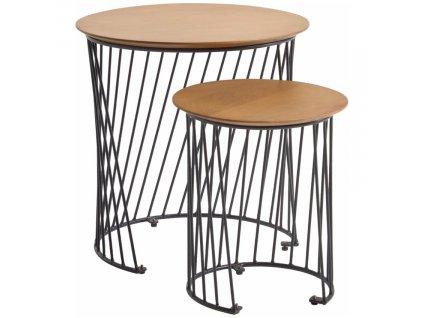 Set dvou dubových kulatých konferenčních stolků LaForma Leska s kovovou podnoží