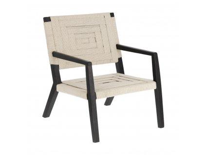 Černé dřevěné křeslo LaForma Shami s pleteným sedákem