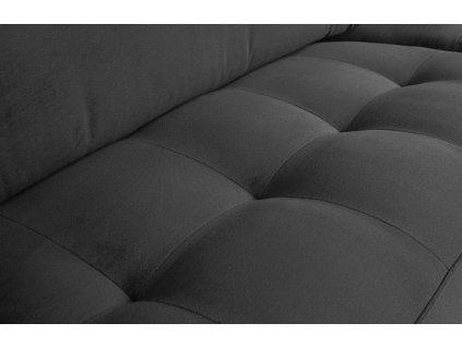 Tmavě šedá třímístná sametová pohovka Raden 275 cm s kovovou podnoží