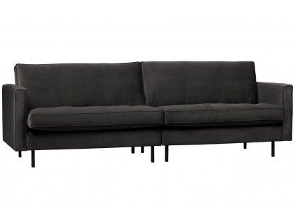 Antracitově šedá třímístná sametová pohovka Raden 275 cm s kovovou podnoží
