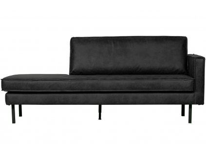 Černá čalouněná pohovka Raden 203 cm z regenerované kůže, pravá