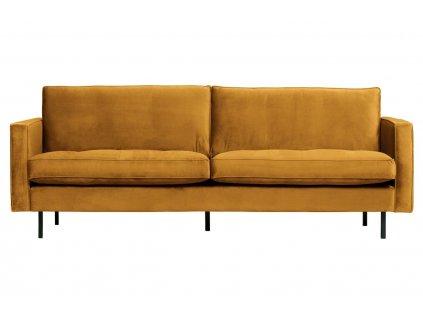 Okrově žlutá dvoumístná sametová pohovka Raden 230 cm