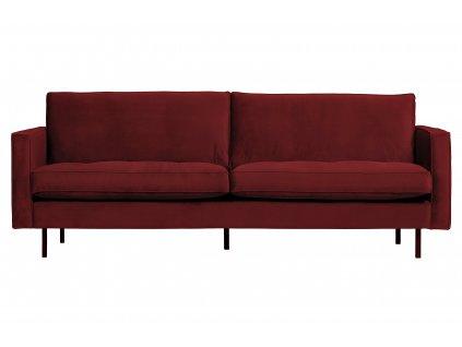 Červená dvoumístná sametová pohovka Raden 230 cm s kovovou podnoží