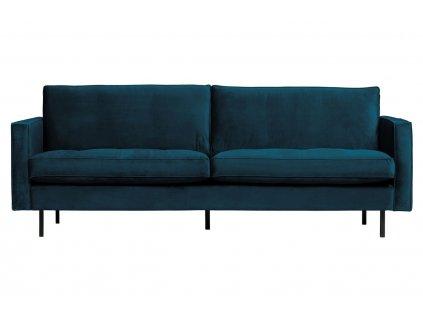 Modrá sametová dvoumístná pohovka Raden 230 cm