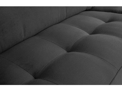 Tmavě šedá dvoumístná sametová pohovka Raden 230 cm s kovovou podnoží