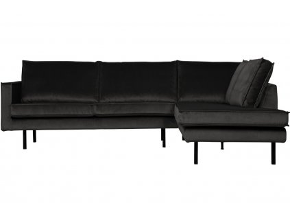 Antracitově šedá sametová pohovka Raden 266 cm, pravá s kovovou podnoží