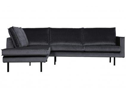 Tmavě šedá sametová rohová pohovka Raden 266 cm, levá s kovovou podnoží
