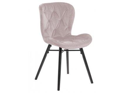 Světle růžová sametová jídelní židle Matylda