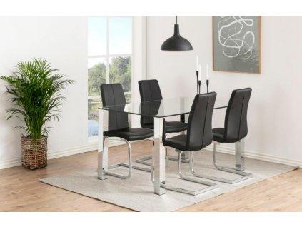 Černá čalouněná jídelní židle Asamo