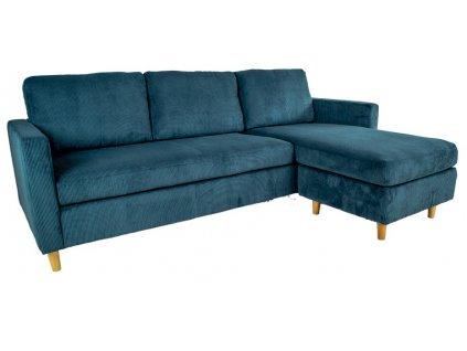 Modrá manšestrová rohová pohovka Ridley s dřevěnou podnoží