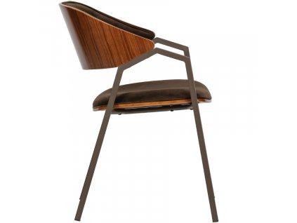 Hnědá sametová jídelní židle Alvaro s kovovou podnoží a dřevěným sedákem