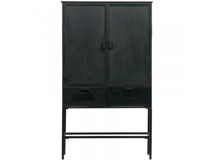 Černá vintage skříň Ronan s vysokou kovovou podnoží