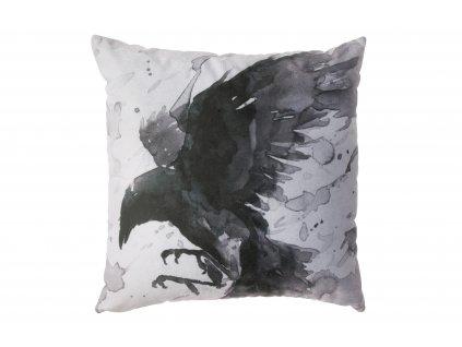 Černobílý polštář s havrany Crow 45 x 45 cm