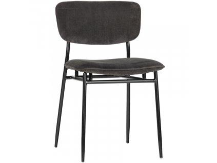 Antracitová manšestrová jídelní židle Camilla