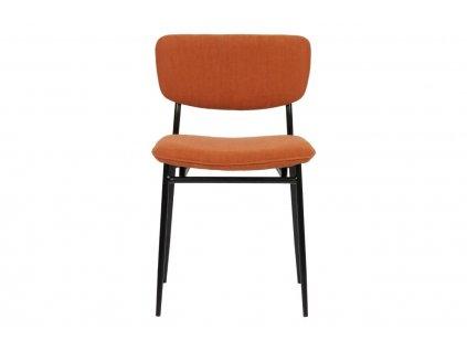 Oranžová manšestrová jídelní židle Camilla s kovovou podnoží