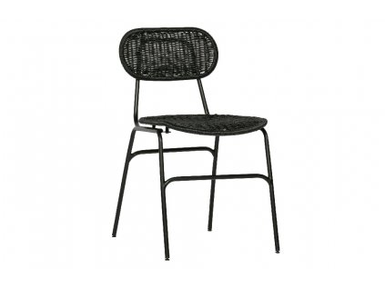 Černá ratanová jídelní židle Tyla s kovovou podnoží