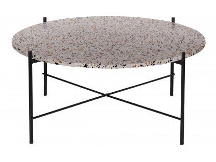 Šedý terazzo kulatý konferenční stolek Salazar 83 cm s kovovou podnoží