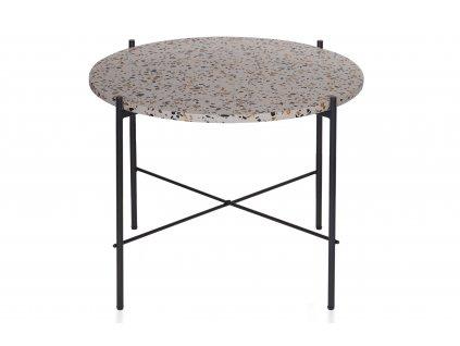 Šedý terazzo kulatý odkládací stolek Salazar 63 cm s kovovou podnoží