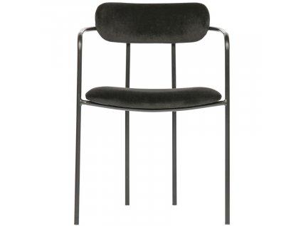 Černá sametová jídelní židle Ivory s kovovou podnoží
