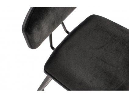 Černá sametová barová židle Zara s dřevěnou podnoží