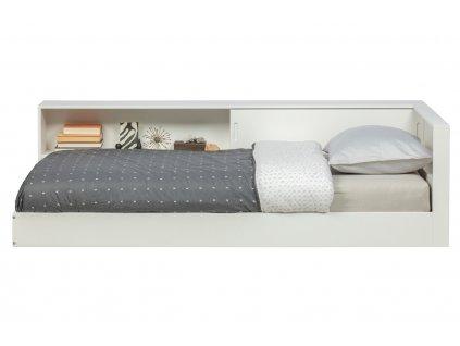 Bílá dřevěná postel Ernie 90x200 cm s policemi