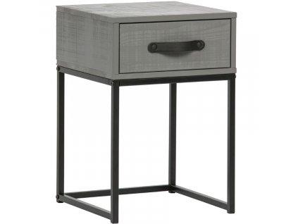 Šedý dřevěný noční stolek Neville s kovovou podnoží