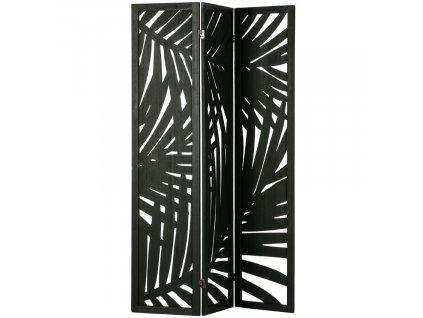 Černý dřevěný paravan Isla s palmovým vzorem
