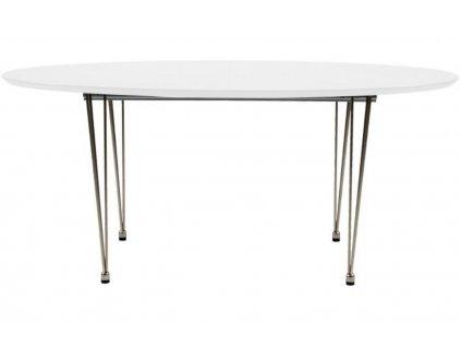 Bílý rozkládací jídelní stůl Ballet 170-270x100 cm s chromovou podnoží