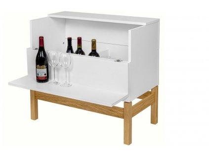 Barový stůl Woodman Grande, bílá/dub 75 x 40 cm