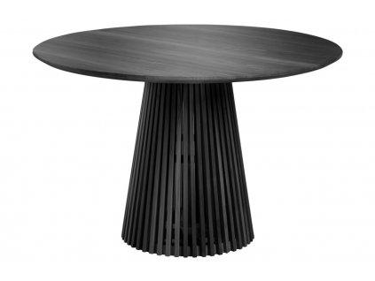 Černý masivní kulatý jídelní stůl LaForma Irune 120 cm