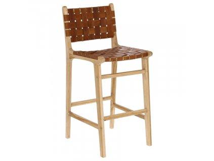 Hnědá teaková barová židle s kůží LaForma Calixta 76 cm