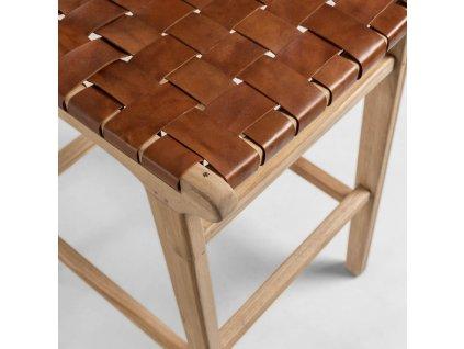 Přírodní hnědá barová židle s kůží LaForma Calixta