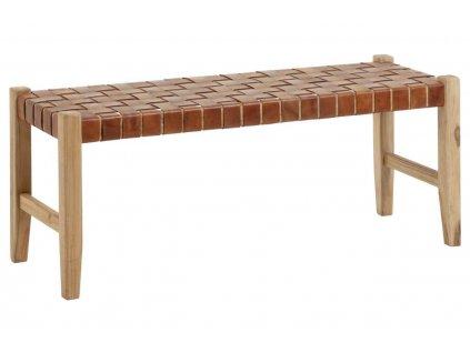 Přírodní hnědá lavice s kůží LaForma Calixta